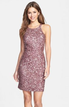 Adrianna Papell Sequin Cutaway Sheath Dress | Clothing
