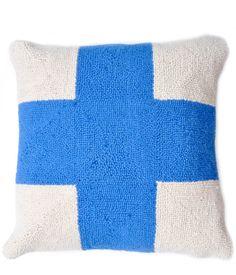 Blue Cross Pillow by Leif