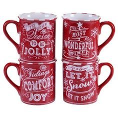 Certified International Chalkboard Christmas Assorted Mugs Set of 4 - Red (16 oz.)