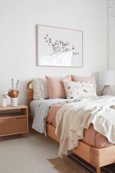 Dreamy Pastel Bedroom JUMP ON IN . So tempting when the bed looks this delicious! Featured is our Inka Bed and Freja Bedside Table, both in American White Oak. Check them out in store or on our website www. Home Decor Bedroom, Interior Design Living Room, Bedroom Inspo, Bedroom Furniture, Furniture Dolly, Interior Paint, Modern Bedroom, Bedroom Ideas, Pastel Bedroom