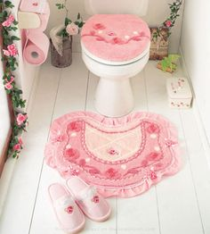 Hime gyaru cute pink flower toilet seat cushion cover, mat, bathroom slipper set