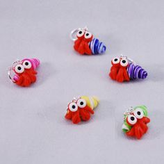 Cute Hermit Crab knitting or crochet stitch by TheClaySheep (Craft Supplies & Tools, Fiber & Textile Art Supplies, Knitting & Crocheting, Stitch Markers, stitch marker, knitting, crochet, accessory, polymer clay, gifts, shell, hermit crab, crab, beach, yarn, gift)