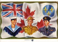 """""""Canada at War"""" - by Canadian Printing and Lithography, Montreal, Quebec, n.d. [1940?] This postcard, published early in the Second World War, gave users a thumbnail sketch of the three services and described Canada's Battle Flag, shown in the background."""