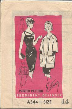 1960s Estevez Sheath Cocktail Dinner Dress Jacket by kinseysue