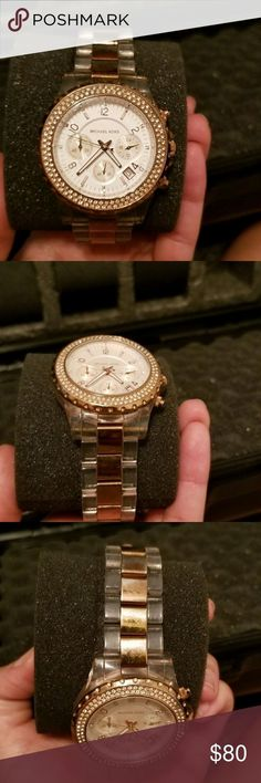Michael Kors watch Michael Kors, Madison, Womens Watch, Stainless Steel and Plastic Case, Stainless Steel. Clear Rose Gold Plated and Plastic Bracelet, Japanese Quartz (Battery-Powered), MK5323 Michael Kors Jewelry