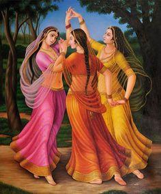 Rhythmic Dance of Three Ladies - Art - Indian Artwork, Indian Art Paintings, Dance Paintings, Abstract Paintings, Oil Paintings, Krishna Painting, Krishna Art, Shree Krishna, Lord Krishna