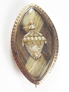 SUPERB ANTIQUE ENGLISH 9K ROSE GOLD HAIR PEARL URN MOURNING LOCKET BROOCH 1787 | eBay