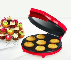 CUPCAKE MAKER Sensio Bella Cucina Red 13465 Small Kitchen Appliance