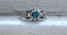 Beautiful Vintage Platinum Pave Diamond and Blue by GoldAdore