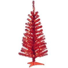 4 PreLit Medium Red Tinsel Artificial Christmas Tree  Clear Lights -- Read more  at the image link.