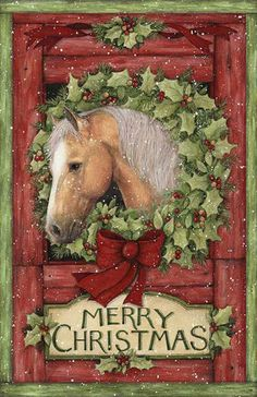 Christmas Welcome Wreath from Springs Creative - Horse Wreath Panel Merry Christmas Christmas Horses, Merry Christmas, Christmas Scenes, Christmas Animals, Country Christmas, Winter Christmas, Vintage Christmas, Christmas Crafts, Christmas Decorations