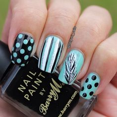 Falguni: Dots And Feathers Nail Art