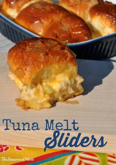 Tuna Melt Sliders: an upgrade on the classic! Tuna salad and melty cheese are tucked inside little sweet rolls and baked in a garlic butter sauce! http://www.theseasonedmom.com/tuna-melt-sliders/ #BumbleBeeB2S #CleverGirls