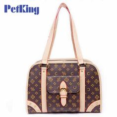Vintage printed Pet cat small dog Travel luxury pu leather Carrier bag outdoor foldable portable dog Chihuahua carrying tote bag