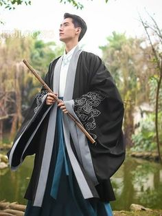 Ancient china clothing Traditional chinese Men Hanfu Cloak Umhang traditionelle Männer Hanfu K Chinese Clothing Traditional, Traditional Kimono, Korean Traditional, Traditional Fashion, Traditional Dresses, Chinese Man, Chinese Style, Hanfu, Japanese Outfits