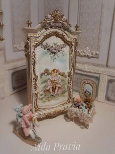 Miniature Rooms, Miniature Furniture, Dollhouse Furniture, Painted Wooden Chairs, Hand Painted Furniture, Shabby, Antique Nursery, Tedy Bear, Doll House Crafts