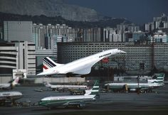 Air France Concorde photo taken by andyhunt - It was always a joy to see Concorde at Kai Tak on her round the world charters, it was unique to watch her come in on the IGS! Air France, Concorde, Air Inter, Rolls Royce, Kai Tak Airport, Tupolev Tu 144, Sud Aviation, Photo Avion, British Aerospace