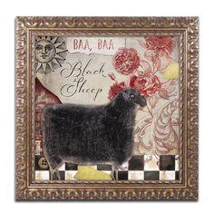 Color Bakery 'Baa Baa Black Sheep' Ornate Framed Art