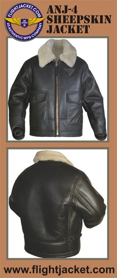 ANJ-4 Sheepskin Jacket. Natural color fur, seal brown exterior. Sheepskin fur - body 18 mm, sleeves 14 mm. Front heavy duty brass zipper. Large front pockets made of goatskin. Second layer of goatskin on sleeves. Gusset armpit. Hidden 100% wool knit rib cuffs inside the sleeve. Goatskin trim on sweep edge and cuffs edge on exterior and interior of jacket. Explore the collection of our military spec. flight jackets at a discounted price. Made IN THE USA www.flightJacket.com