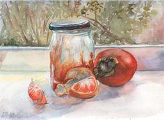 Original watercolor still life Orange mood  by ArtannaStore