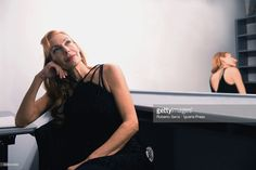 German artist and vocalist Ute Lemper poses in dressing room before to perform her recital 'Last Tango in Berlin' at Arena Del Sole Theater on November 29, 2015 in Bologna, Italy.