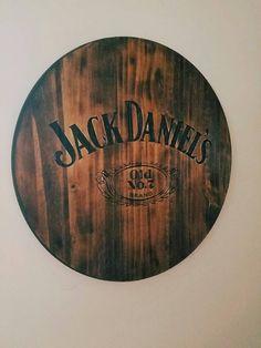 Any Logo or Design Jack Daniel's Burned Wood Sign Wood Pallet Signs, Custom Wood Signs, Rustic Signs, Wooden Pallets, Jack Daniels Decor, Diy Workbench, Man Cave Bar, Oak Stain, Wood Bars