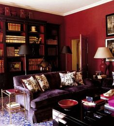 Red and purple den/library/living room, without looking cheap or harsh. Acanthus and Acorn.