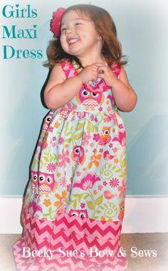 Girls Maxi Dress Fun Spring & Summer Prints With  Lots Of Ruffles 2T-5T starting at $40 etsy.com/shop/BeckySuesBowAndSews  Girl, Girls, Toddler, Maxi, Dress, Halter, ruffle, chevron, owl, pink, hot pink, green, long, empire waist, 3T, Easter, spring, summer, cotton print, floral