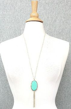 Turquoise Stone Pendant Tassle Fringe Statement Necklace.    Chain measures: 30-33 inches