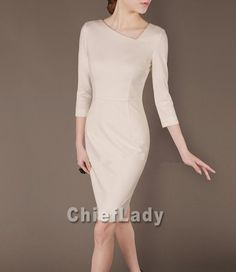 Elegant outfits Ivory Dress Formal Office Wear Preppy by Chieflady, $113.50