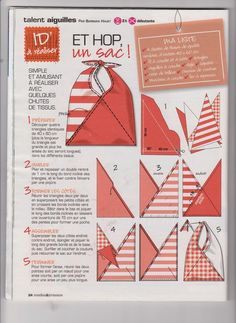 Un patron : 2 sacs en tissu d'ameublement très simples - - Le sac origami Origami bag Origami and Bag Origami bag - site in German. Origami-Bag: in 30 Minuti it's ready to go Tolt Folded Bag with Veronika Diy Bags Easy, Simple Bags, Easy Bag, Fabric Gifts, Fabric Bags, Triangle Bag, Origami Bag, Handmade Bags, Handmade Leather