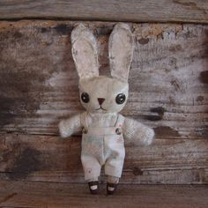 Oswald Bunny primitive cloth doll hand painted by littleblackcrow, $55.00