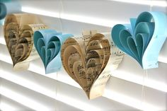 Paper Hearts Vintage Music Sheets Tiffany Blue Wedding Garland ~ Pickled Parlor on Etsy