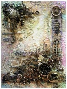FRIENDS in ART: Wonderful Classes with Finnabair. More information about this piece on her website! Mixed Media Techniques, Mixed Media Tutorials, Art Techniques, Altered Canvas, Altered Art, Altered Boxes, Mixed Media Collage, Mixed Media Canvas, Finnabair Mixed Media