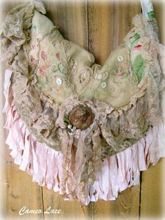 Beautiful bag with vintage lace from @Paris ⚜ Rags and Shabby Rose Studio