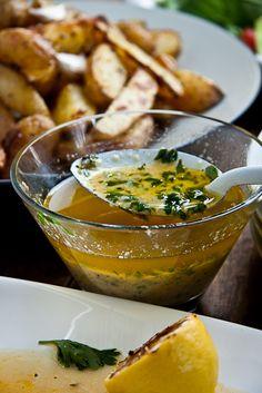 Baked fish with Lemon Butter- For the lemon-garlic butter:  1.5 cups butter  4 garlic cloves, crushed  juice of 2 lemons  2T cream  freshly ground black pepper  3Tfreshly chopped parsley