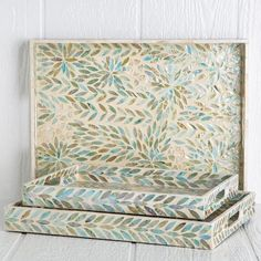 Mother Of Pearl Palawan Trays Decorative Boxes, Tray, Shells, Cool Tools, Table Centerpieces, Floral Pattern, Centerpieces, Serveware
