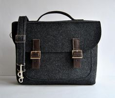 SALE -10% off !!    Regular price: $56 SALE PRICE: $50    Ready to ship ! Felt and italian leather bag - briefcase. Dark gray felt with dark brown