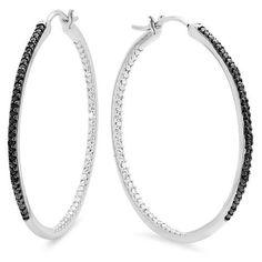 0.20 Carat (ctw) Sterling Silver Round Cut Black Diamond Ladies Hoop Earrings 1/5 CTby DazzlingRock Collection