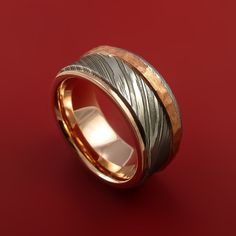 Damascus Steel 14K Rose Gold Ring Wedding Band with Hammered Copper Inlay