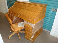 Oak Roll-Top Desk with Matching Chair & Mirror