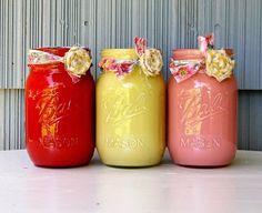 Red, yellow & pink mason jars
