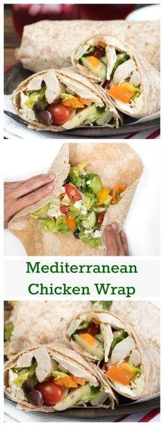 Mediterranean Chicken Wrap- Greek Salad, hummus and seasoned chicken ...