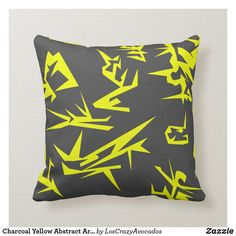 Charcoal Yellow Abstract Art Cushion Pillow