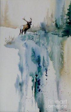 Bull Elk Sur la Montagne Peinture - Elk On Top par Lynne Parker Watercolor Landscape Paintings, Watercolor Animals, Abstract Watercolor, Watercolor Illustration, Landscape Art, Top Paintings, Animal Paintings, Winter Painting, Winter Art