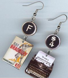 Fahrenheit 451 Typewriter Book Earrings #1970s #book-earrings #book-jewelry