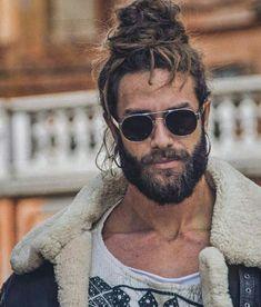 Man Bun Styles, Beard Styles For Men, Hair And Beard Styles, Curly Hair Styles, Man Bun Hairstyles, Gents Hair Style, Ginger Beard, Rocker, Beard Tattoo