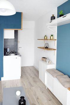 decoration of a small scandinavian blue studio apartment bench bench storage parquet light duck blue wall blue wallpaper studio layout . Small Space Design, Small Space Living, Small Spaces, Studio Apartments, Small Apartments, Deco Studio, Studio Layout, Studio Apartment Decorating, Bench With Storage