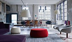 A blend of industrial-style and modern-style space.