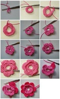 flor dos colores en crochet